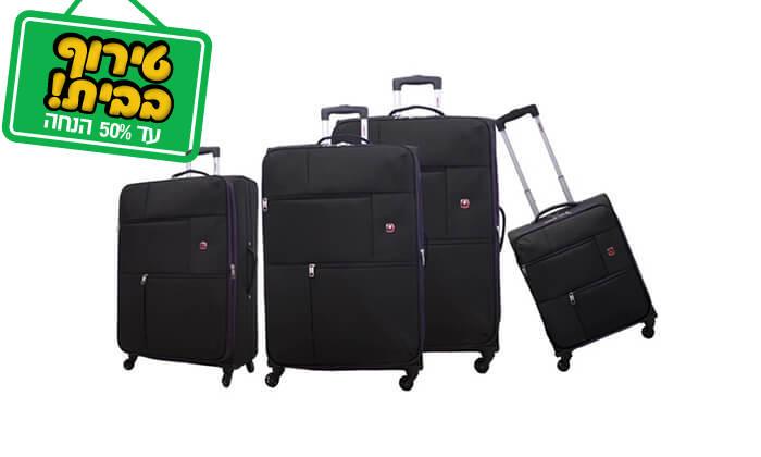 8 סט 3 או 4 מזוודות בד SWISS TRAVEL PREMIUM