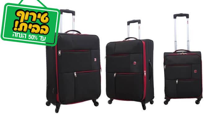 21 סט 3 או 4 מזוודות בד SWISS TRAVEL PREMIUM