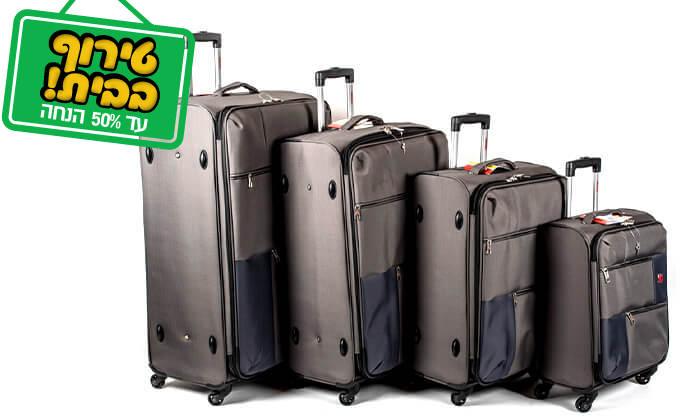 11 סט 3 או 4 מזוודות בד SWISS TRAVEL PREMIUM