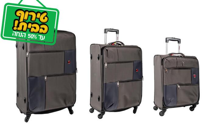 16 סט 3 או 4 מזוודות בד SWISS TRAVEL PREMIUM
