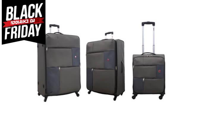 5 סט 3  מזוודות בד SWISS TRAVEL PREMIUM