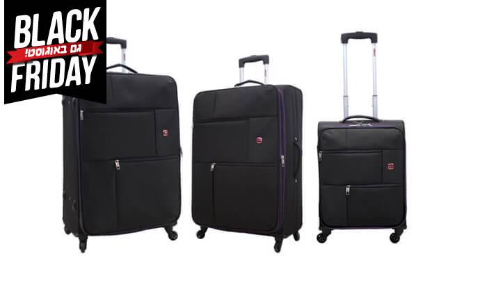 3 סט 3  מזוודות בד SWISS TRAVEL PREMIUM