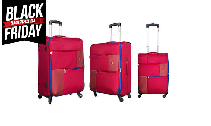 4 סט 3  מזוודות בד SWISS TRAVEL PREMIUM
