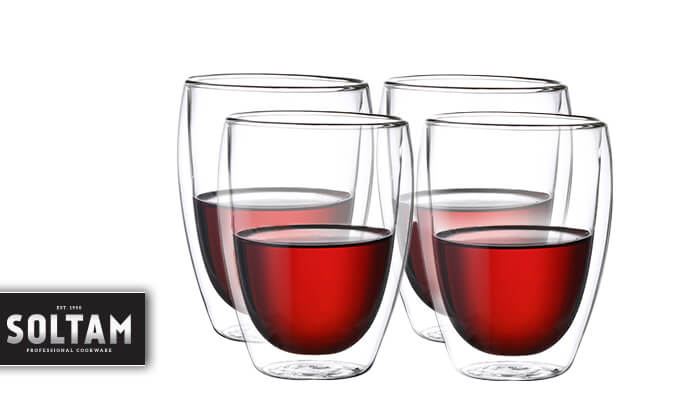 2 סולתם SOLTAM: סט כוסות דופן כפולה