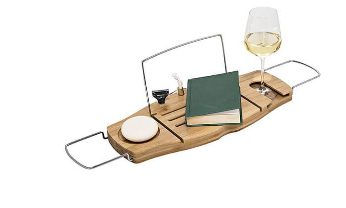 3 מגש לספר ולכוס יין לאמבטיה honey can do