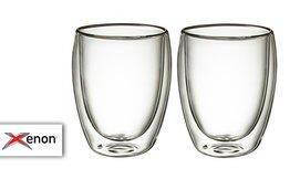 זוג ספלי זכוכית עם דופן כפולה