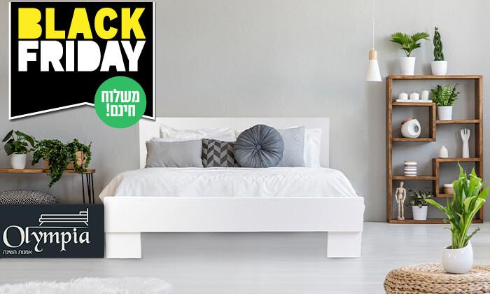 2 אולימפיה: מיטה מעץ עם מזרן קפיצים - הובלה והרכבה חינם