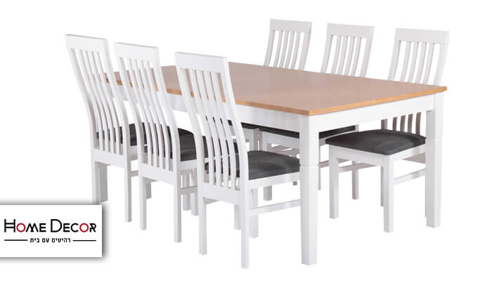 2 פינת אוכל נפתחת עם 6 כיסאות HOME DECOR