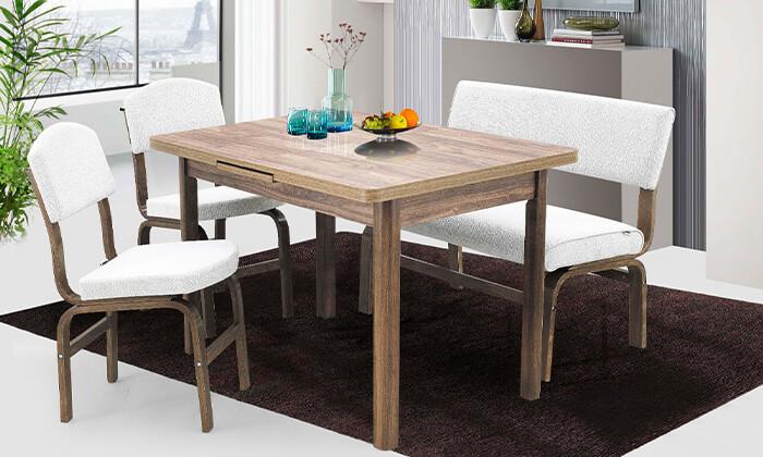6 פינת אוכל עם 2 כסאות וספסל אור דיזיין Or Design