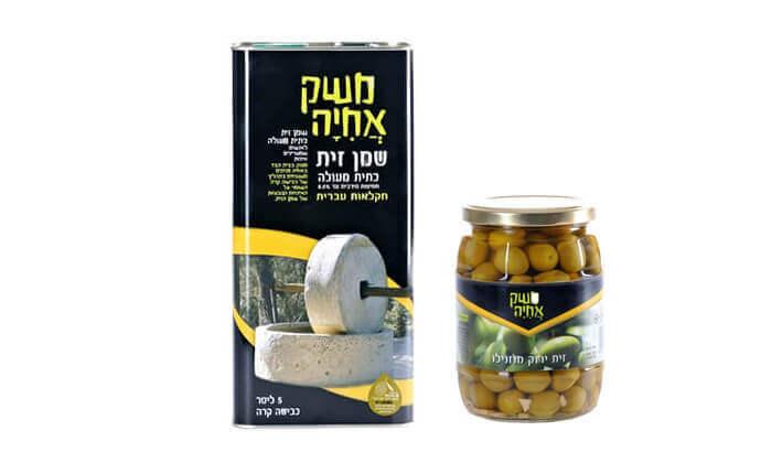 2 מארז שמן זית וצנצנת זיתים של משק אחיה