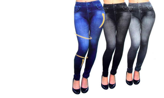 2 שלישיית טייץ בעיצוב ג'ינס