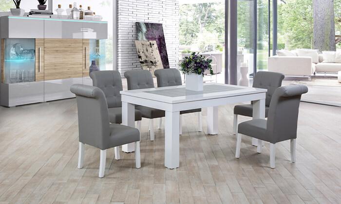 2 פינת אוכל עם 6 או 8 כיסאות LEONARDO, דגם אלסקה