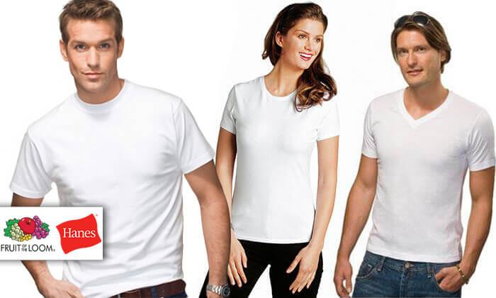 2 6 חולצות בייסיק לגבר ולאישה Hanes & FRUIT OF THE LOOM