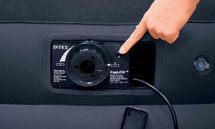 3 מזרן זוגי מתנפח עם משאבה חשמלית INTEX