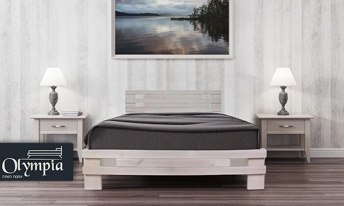 2 אולימפיה: מיטה מעץ מלא עם מזרן