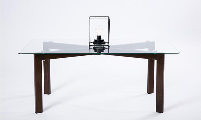 2 שולחן סלון מלבני מזכוכית