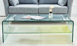 שולחן סלון מזכוכית עם מדף