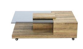 שולחן סלון עשוי עץ וזכוכית