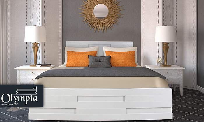 2 אולימפיה: מיטה מעץ עם מזרן אורתופדי