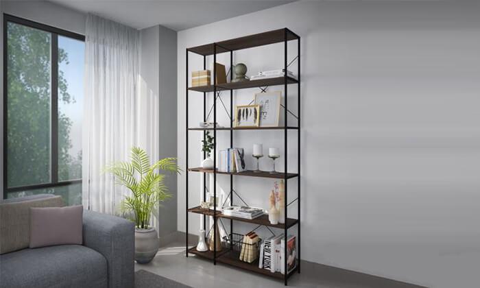 4 ספריית מדפים ממתכת ועץ