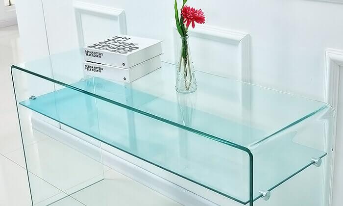 3 שידת כניסה עשויה זכוכית עם מדף תחתון