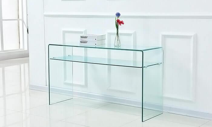 4 שידת כניסה עשויה זכוכית עם מדף תחתון