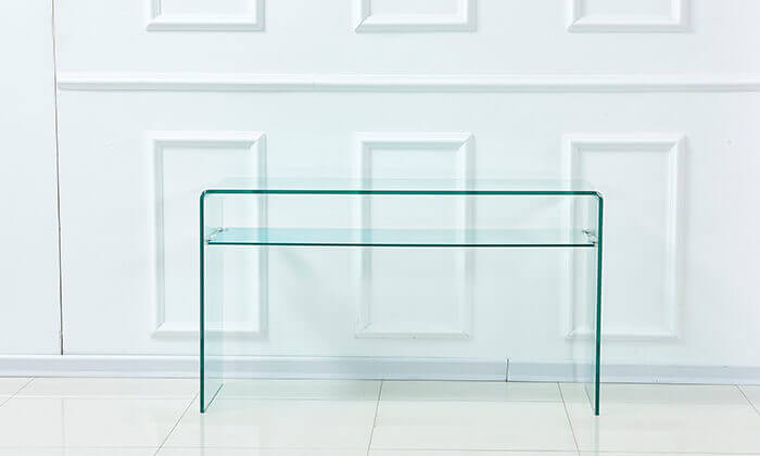 5 שידת כניסה עשויה זכוכית עם מדף תחתון