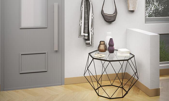 6 שולחן סלון דגם יהלום עם פלטת זכוכית וגוף מתכת