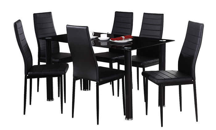 3 פינת אוכל עם 6 כיסאות מרופדים, דגם DAZA0308