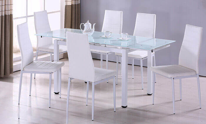 7 פינת אוכל עם 6 כיסאות דגם 0303