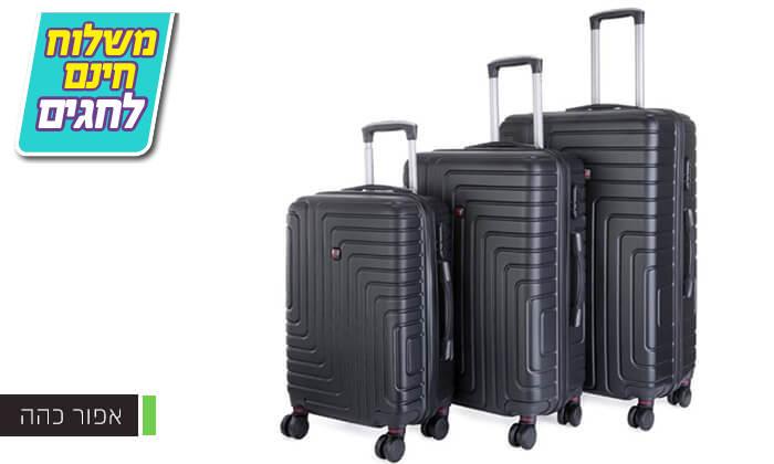3 סט 3 מזוודות קשיחות POLO SWISS - משלוח חינם!