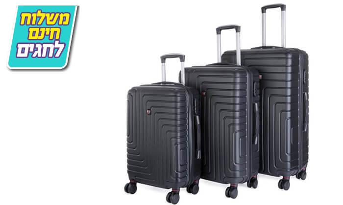 5 סט 3 מזוודות קשיחות POLO SWISS - משלוח חינם!