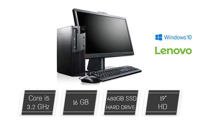 2 מחשב נייח LENOVO עם מסך 19 אינץ', מקלדת ועכבר