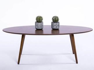 שולחן קפה אליפסי מעץ