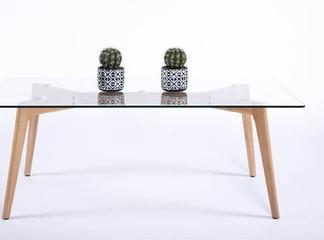 שולחן סלון מלבני מזכוכית