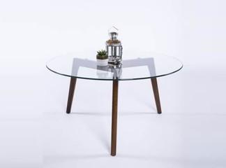 שולחן עגול בעל זכוכית מחוסמת