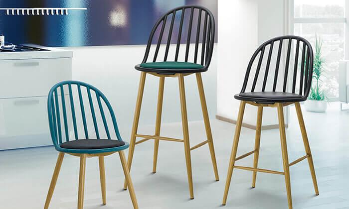 6 כיסא בר בעל משענת פסים