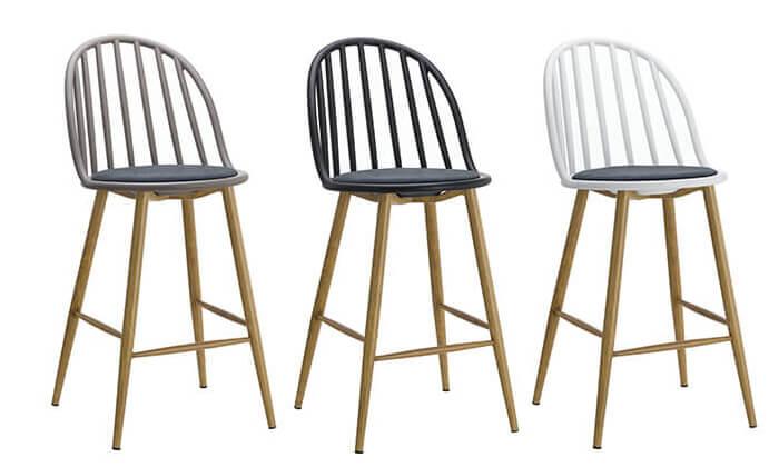 2 כיסא בר בעל משענת פסים