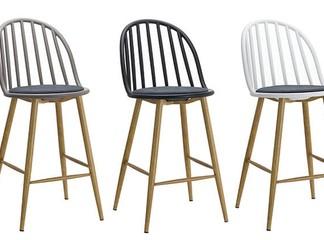 כיסא בר בעל משענת פסים