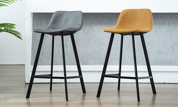 7 כיסא בר עם ריפוד דמוי עור