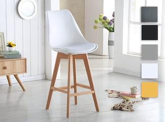 כיסא בר דמוי עור ורגליי עץ