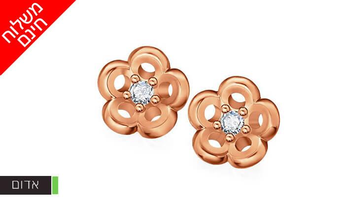 4 עגילי זהב פרחים עם יהלום 14K של GOLDIAM - משלוח חינם