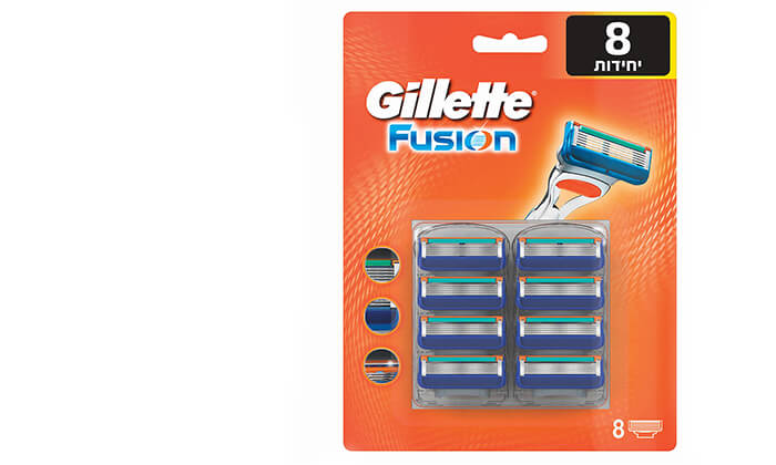 מארז 8 סכינים ג'ילט פיוז'ן Gillette-משלוח חינם !