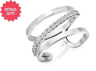טבעת יהלומים אלכסוניים לאישה