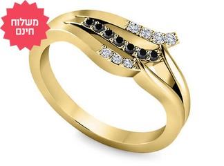 טבעת יהלומים שחורים ולבנים