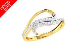 טבעת יהלומים בעיצוב טוויסט 14K