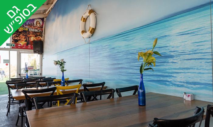 5 וופל בלגי זוגי ושתייה חמה במסעדת סטלה ביץ', טיילת בת ים