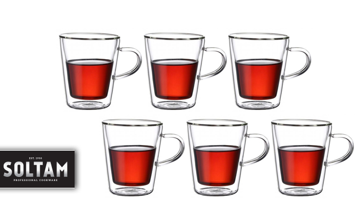 סולתם SOLTAM: סט 6 כוסות עם דופן כפולה