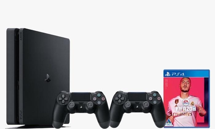 2 קונסולת משחק פלייסטיישן Playstation 4 Slim עם FIFA 20