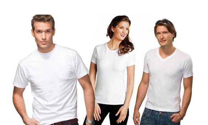 7 6 חולצות בייסיק לגבר ולאישה Hanes & FRUIT OF THE LOOM